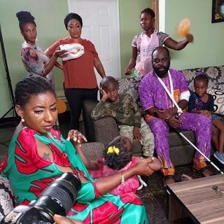 Funsho Adeolu on set with Mide Martins