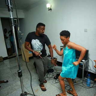 Kunle afolayan and chidinma on set of a new movie