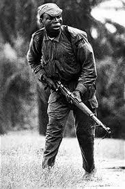 Picture taken on July 1968 showing the lieutenant colonel Ogbonnaya Oji during a battle of Nigerian Civil War