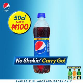 Pepsi 50cl plastic bottle back to N100