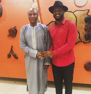 Lovely Photos Of Peter Okoye With The President Of Guinea