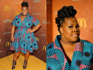 Amber Riley in simple Ankara gown