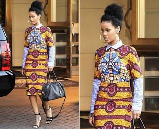 Rihanna looks so corporate in Ankara dress