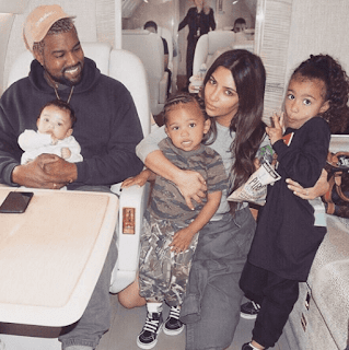 Kim Kardashian and family in a private jet