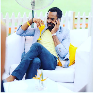 OC Ukeje pictured on set of a movie