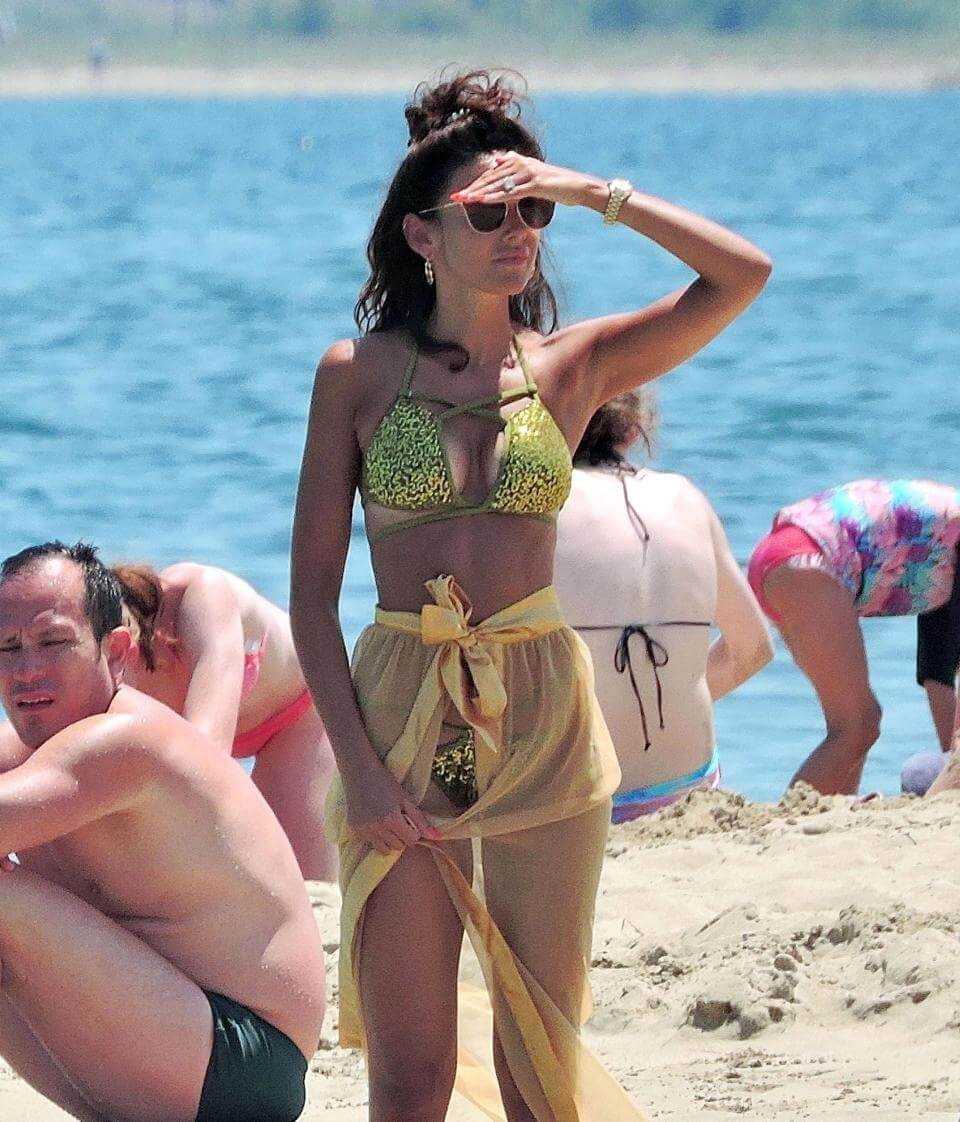 Michelle Keegan hits the beachj in bikini