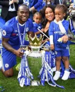 Victor moses with the mother of his two kids