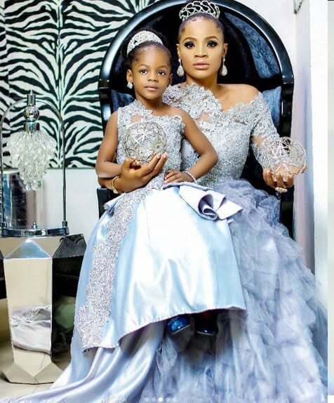 Uche Ogbodo and her daughter in matching outfits
