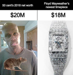 mayweather compares 50cent net worth to his wristwatch