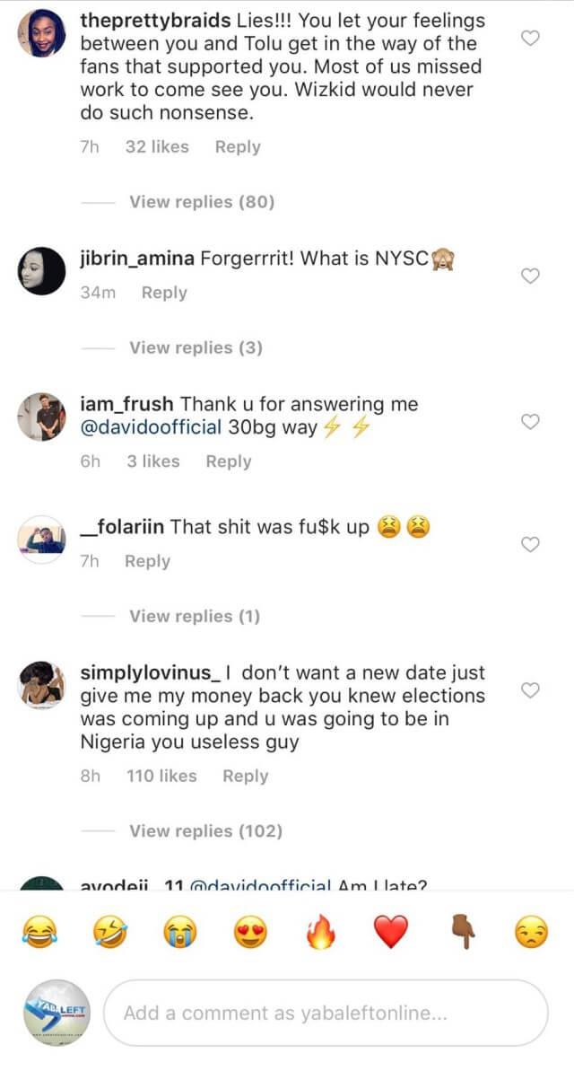 comments on davido US tour