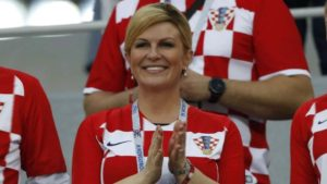 Kolinda Grabar cheering Croatian team up a the world cup