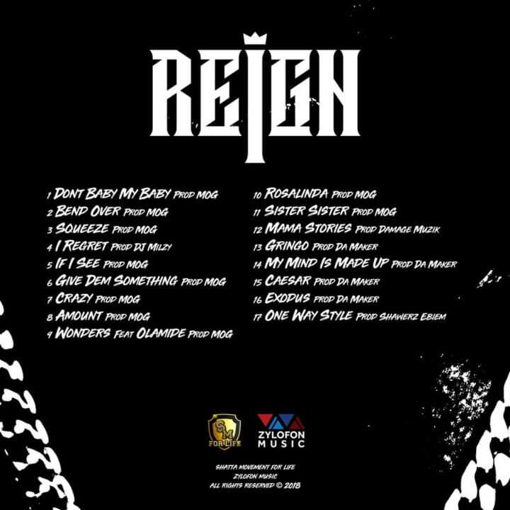 Shatta Wale tracklist for Reign