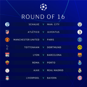 Uefa Champions league draw round 16