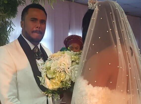 Actor Michael Okon Weds Pregnant Wife In White Wedding Ceremony - See Photos