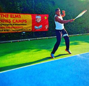 Anthony Joshua playing tennis