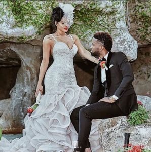 Konshens and his wife in wedding dress