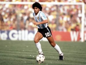 Maradona on field of play for Argentina