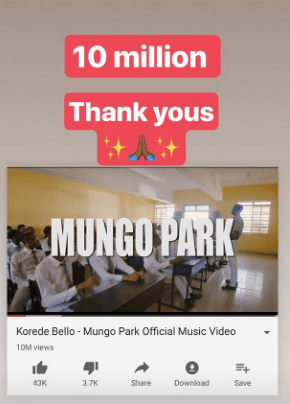 Korede Bello Mungo Park video on youtube