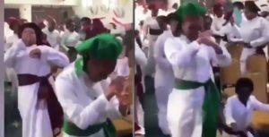 Church members doing the Zanku dance