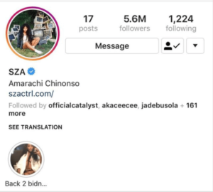 SZA Changes name on Instagram