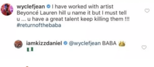 Wyclef sends message to Kizz daniel