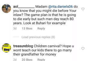Comments on Regina Daniels mother page