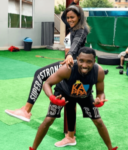 Busola Dakolo and her husband having fun