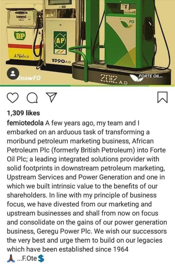 Femi Otedola leaves forte Oil