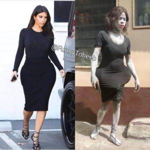 Funy Toheeb Kim Kardashian style