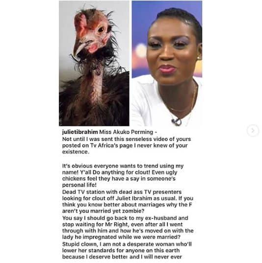 Juliet Ibrahim blast Akosua