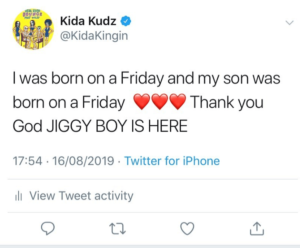 Kida Kudz welcomes baby boy