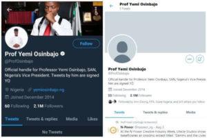 Twitter unveries vice president Osinbajo's account