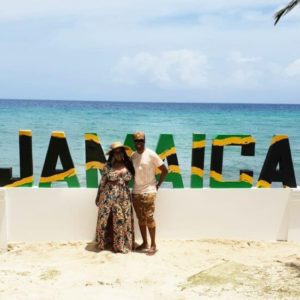 Toolz and husband Tunde Demuren on a vacation
