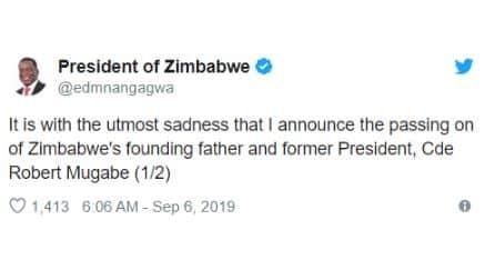 Zimbabwe Ex-President, Robert Mugabe passed away