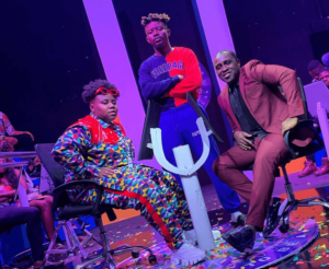 TG Omori on set of Teni billionaire video alonsgide Teni & Frank Edoho