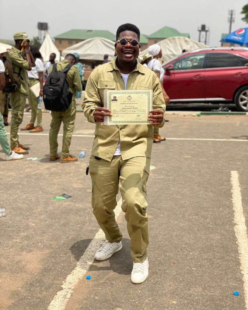 Mr Macaroni with nysc certificate